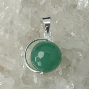Colgante cuarzo verde y plata