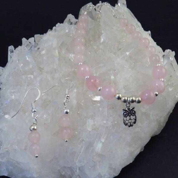 Conjunto cuarzo rosa y plata