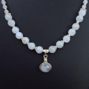 fadc33b275ad Collar colgante piedra luna y plata