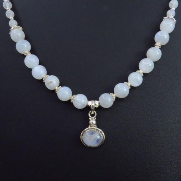 Collar colgante piedra luna y plata - Piedras para collares ...