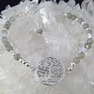Pulsera árbol de la vida labradorita y plata