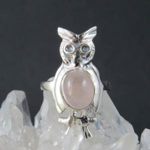 Anillo Búho cuarzo rosa y plata