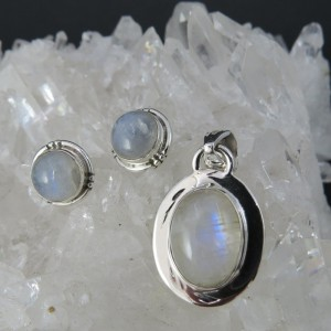 Conjunto piedra luna y plata