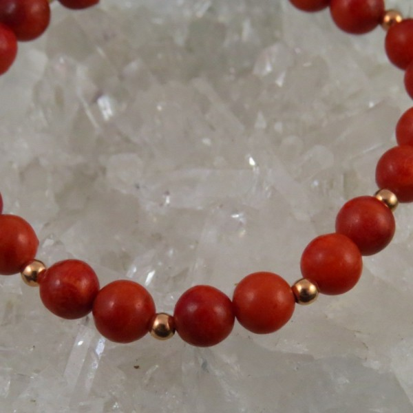 Pulsera de coral y oro rosa - La Tienda de los Minerales