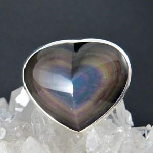 Anillo obsidiana arco iris y plata