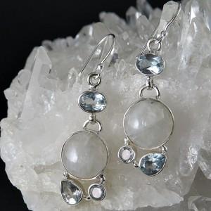 Pendientes piedra luna, topacio y plata