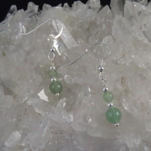 Pendientes cuarzo verde y plata