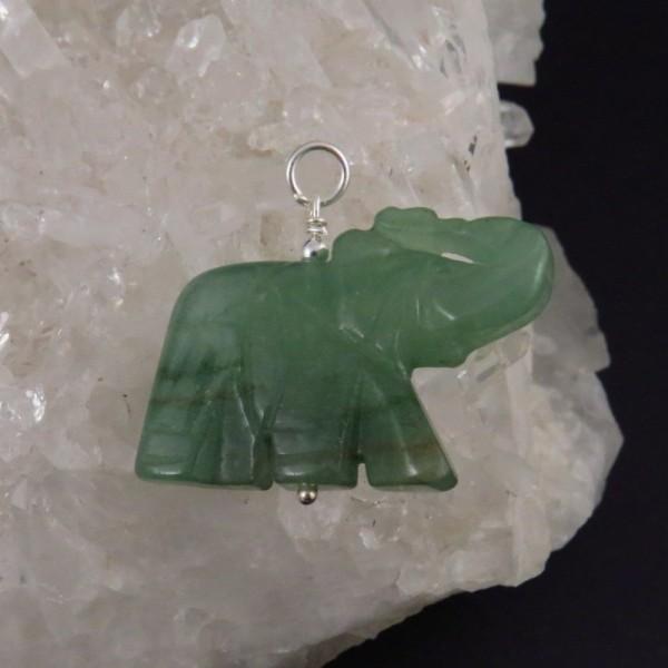 Colgante elefante aventurina y plata - La Tienda de los Minerales