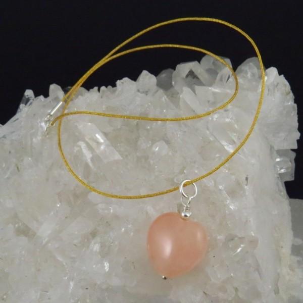 Conjunto colgante cuarzo rosa y plata