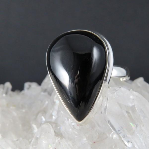 Anillo obsidiana y plata