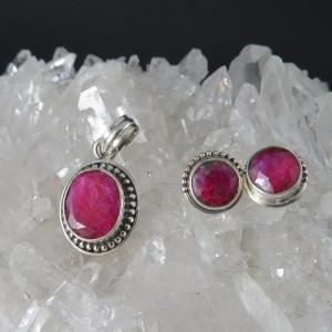 Conjunto rubí y plata