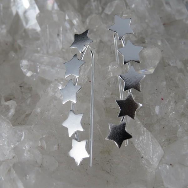 df68a2b97d90 Pendientes estrellas trepadores de plata