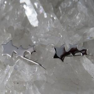 Pendientes estrellas trepadores de plata