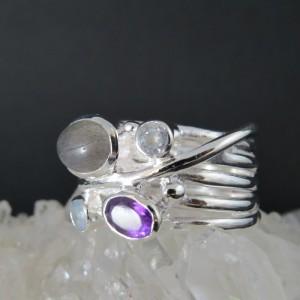 Anillo piedras semipreciosas y plata