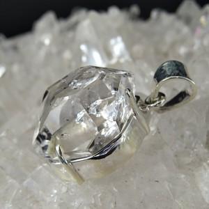 Colgante diamante Herkimer y plata