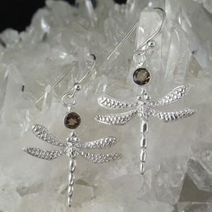 Pendientes libélula cuarzo ahumado y plata