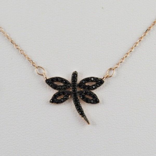 Collar oro rosa - Libélula - La Tienda de los Minerales   Joyería Online