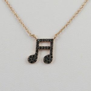 Collar nota musical oro rosa