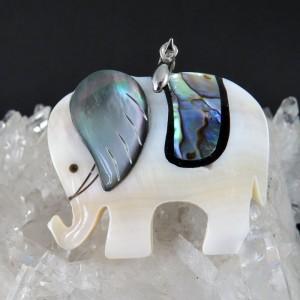 Colgante elefante de la suerte abalón, nácar y plata