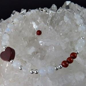 Pulsera piedra luna, jaspe rojo y plata