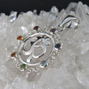 Colgante OMM Siete Chakras y plata