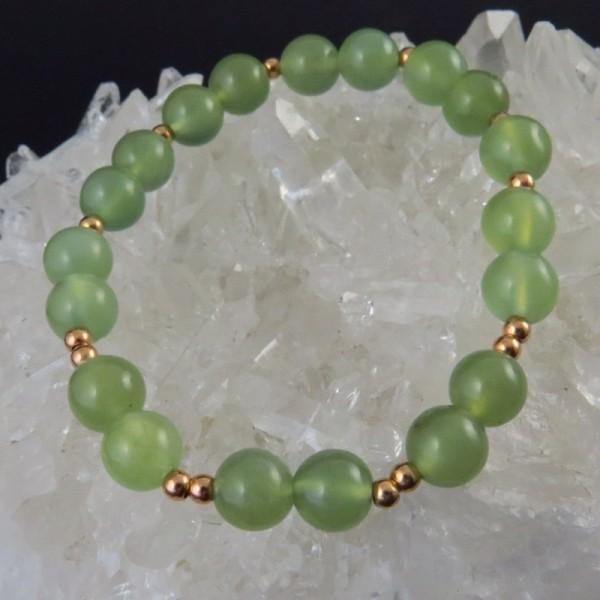Pulsera jade y oro rosa - La Tienda de los Minerales