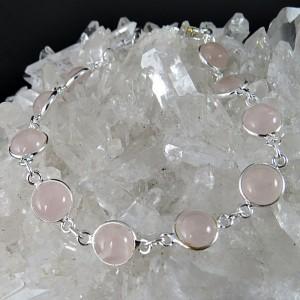 Pulsera cuarzo rosa y plata