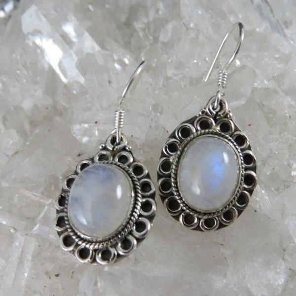 Pendientes piedra luna y plata