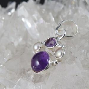 Colgante amatista, perla  y plata