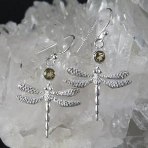 Pendientes libélulas citrino y plata