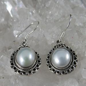 Pendientes perla y plata