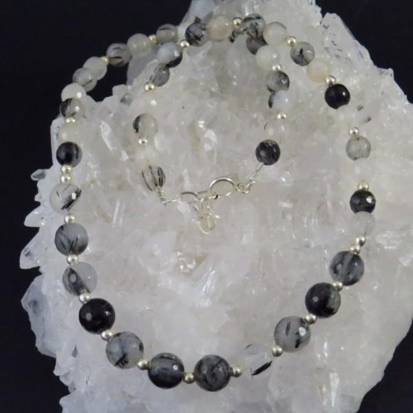 Collar cuarzo turmalinado y plata - La Tienda de los Minerales | Joyería Online