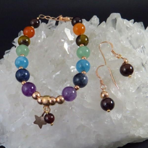 Conjunto siete chakras y oro rosa - La Tienda de los Minerales