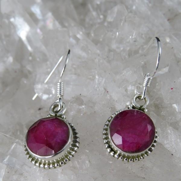 Pendientes rubí y plata
