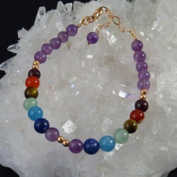 Pulsera siete chakras y oro rosa - La Tienda de los Minerales