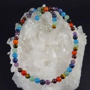 Collar siete chakras y plata - La Tienda de los Minerales