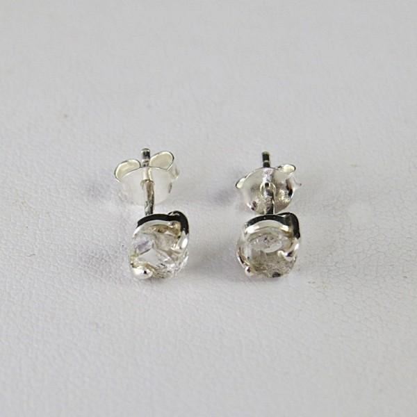 Pendientes diamante Herkimer y plata