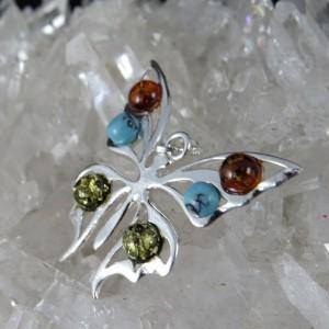Colgante mariposa ámbar, turquesa y plata