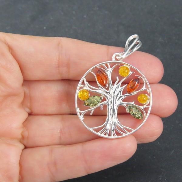 Colgante árbol de la vida ámbar y plata