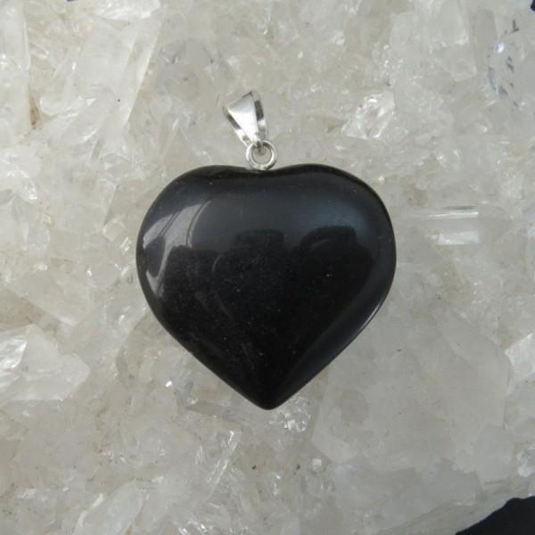Colgante corazón obsidiana y plata