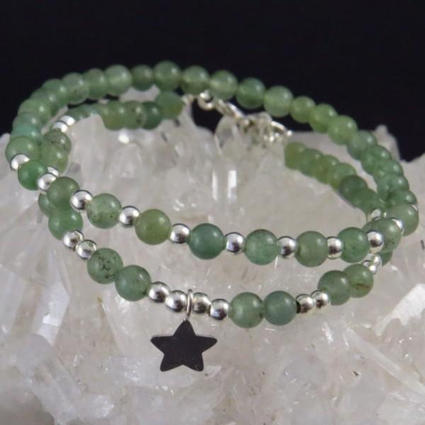 Dúo pulseras cuarzo verde y plata