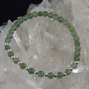 Pulsera cuarzo verde y plata