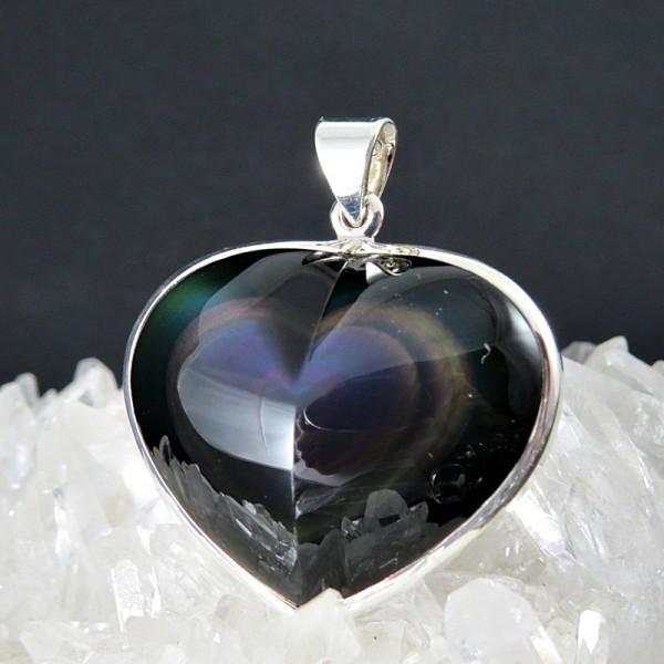 Colgante obsidiana arco iris y plata