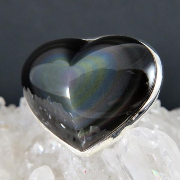 selección premium 64a11 e07e0 Anillo obsidiana arco iris y plata
