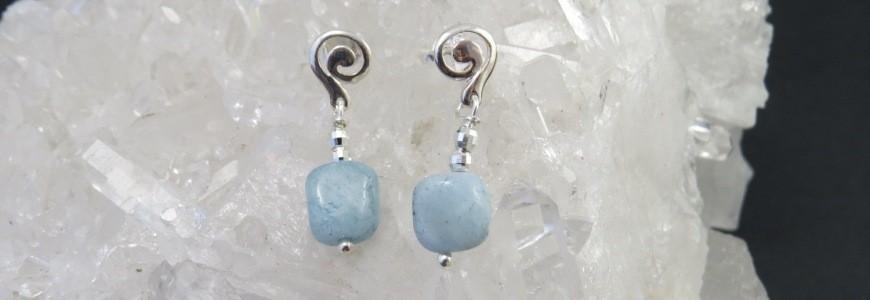 Pendientes con piedras semipreciosas, naturales y plata